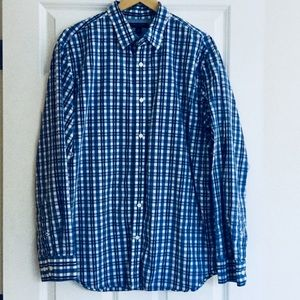 Banana Republic Blue Paid Button Down Size XL